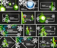Set of minimal Christmas design templates, geometric abstract Christmas tree, snow, Christmas toy balls. Vector illustration Stock Photos