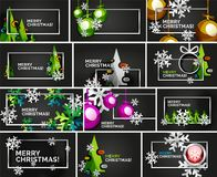Set of minimal Christmas design templates, geometric abstract Christmas tree, snow, Christmas toy balls. Vector illustration Stock Image