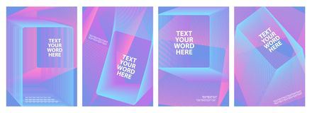 Set of 4 minimal geometric graphic covers design. Simple poster template in a bright blue and pink. Stock Photos
