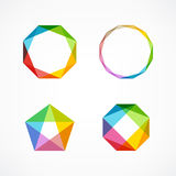 Set of minimal geometric multicolor symbols and shapes. Trendy icons and logotypes. Business signs symbols, labels, badges, frames. Set of symbol and shapes Royalty Free Stock Photography