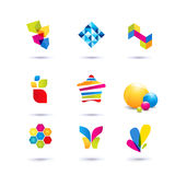 Set of minimal geometric multicolor symbols and shapes. Trendy icons and logotypes. Business signs symbols, labels, badges, frames. Set of symbol and shapes Stock Images