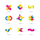 Set of minimal geometric multicolor symbols and shapes. Trendy icons and logotypes. Business signs symbols, labels, badges, frames. Set of symbol and shapes Stock Image