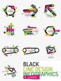 Set of minimal line design office web infographics Royalty Free Stock Image