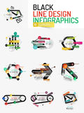 Set of minimal line design office web infographics Stock Photo