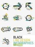 Set of minimal line design office web infographics Stock Photography
