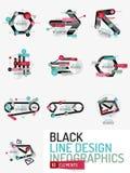 Set of minimal line design office web infographics Stock Images