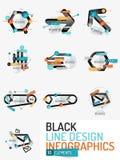 Set of minimal line design office web infographics Stock Photos
