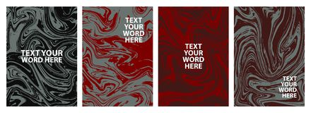 Set of 4 minimal marble graphic covers design. Simple poster in Royalty Free Stock Photography