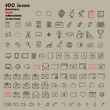 Set of 100 Minimal Modern Thin Stroke Black Icons. Multimedia, Business, Ecology, Education, Shopping stock illustration