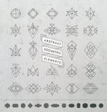 Set of Minimal Monochrome Geometric Retro Insignias and Logotype Royalty Free Stock Images