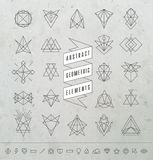 Set of Minimal Monochrome Geometric Retro Insignias and Logotype. S. Business Signs, Logos, Labels, Badges, Frames, Borders and Other Design Elements Royalty Free Stock Photos