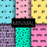 Set of minimal seamless patterns vector illustration