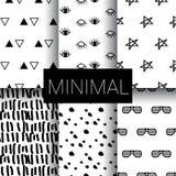 Set of minimal seamless patterns stock illustration