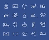Set of Minimal Sleep Time Vector Line Icons. Perfect Pixel. Thin Stroke. Royalty Free Stock Photos