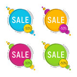Set of minimal style flat trendy bubble shaped banners, price ta Royalty Free Stock Images