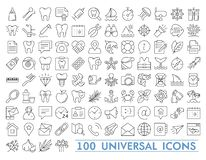 Set of 100 Minimal Thin Line and Solid Icons Multimedia Business Ecology Education Fitness Medical Family Shopping. Transport and Constrction . Vector Isolated royalty free illustration