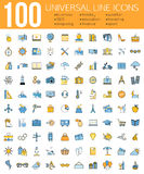 Set of 100 Minimal Universal Line Icons. Business Stock Photo