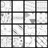 Set of minimalist dotted patterns. 16 elegant greyscale minimalistic seamless patterns made of dots. Graphics are grouped and in several layers for easy editing Royalty Free Stock Photos