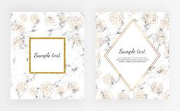 Set minimalist placard, white marble or stone texture with gold flowers. Template for design invitation, card, banner, wedding, ba royalty free illustration