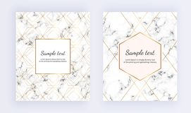 Set minimalist placard, white marble texture with gold line and frame. Place for your text. Template for design invitation, card, vector illustration