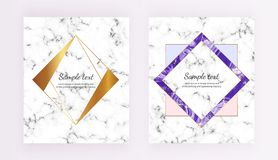 Set minimalist placards, polygonal frames. White, purple marble texture with gold lines border. Template for design invitation, ca stock illustration