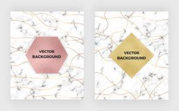 Set minimalist white marble with gold lines and foil texture. Luxury cover templates. Cover design for placards, banners, party, b royalty free illustration