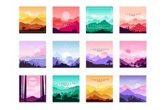 Set of minimalistic flat original landscapes design with mountains, hills, forest. Vector collection of nature. Set of minimalistic flat original landscapes stock illustration