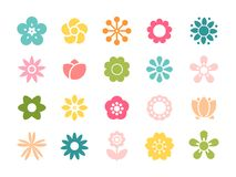 Set of minimalistic flowers isolated on white background. Vector. Bright ornamental shapes of the flowers. Flat floral elements for garden design or funny women Royalty Free Stock Photos
