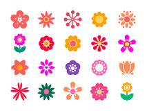 Set of minimalistic flowers isolated on white background. Vector flower icons. Bright ornamental shapes of the flowers. Flat floral elements for garden design Royalty Free Stock Photo