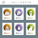 Set of white paper cut halloween cards Royalty Free Stock Photos