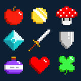 Set of minimalistic pixel art vector objects isolated. Game 8 bit style. minimalistic pixel graphic symbols group collection. apple, coin, mushroom, diamond Stock Photo