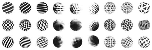 Set of minimalistic shapes. Halftone black color spheres isolated on white background. Stylish emblems. Vector spheres. With dots, stripes, triangles, hexagons Royalty Free Stock Photo