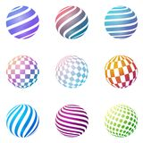 Set of minimalistic shapes. Halftone color spheres. Set of minimalistic shapes. Halftone bright color spheres  on white background. Stylish emblems. Vector Royalty Free Stock Images