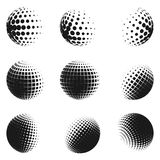 Set of minimalistic shapes. Halftone spheres. Set of minimalistic shapes. Halftone black color spheres isolated on white background. Stylish vector emblems Stock Images