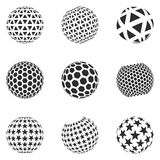Set of minimalistic shapes. Halftone black color spheres isolated on white background. Stylish emblems. Vector spheres with triangles, hexagons, stars for web Stock Photos
