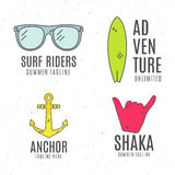 Set of minimalistic surfing logo concepts. Summer Thin line flat tropical design. Surfer gear badges - glasses, anchor. Board. Linear tourist templates Royalty Free Stock Photography