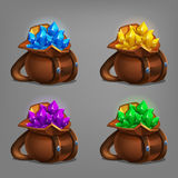 Set of mining minerals in leather bag. Golden ore, gems, crystals and stones. Vector illustration Stock Photo