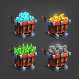 Set of mining minerals in mine trolley. Golden ore, gems, crystals and stones. Royalty Free Stock Image