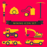 Set of mining theme icons of yellow and grey colors on a red bac vector illustration