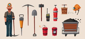 Set of mining tools. Worker`s inventory. Cartoon vector illustration. Coal mining theme. Hard work Stock Images
