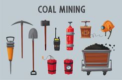 Set of mining tools. Worker`s inventory. Cartoon vector illustration. Coal mining theme. Hard work Stock Photo