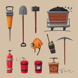Set of mining tools. Worker`s inventory. Cartoon vector illustration. Coal mining theme. Hard work Royalty Free Stock Image