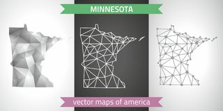Minnesota set of grey and silver mosaic 3d polygonal maps. Graphic vector triangle geometry outline shadow perspective maps. Set of Minnesota polygonal mosaic Stock Photos