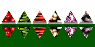Set of mirrored triangles full of fresh vegetables Stock Photography