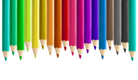 Set misaligned coloured pencils side by side seamless isolated. Set of misaligned coloured pencils side by side seamless isolated Stock Photos