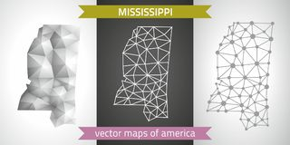 Mississippi set of grey and silver mosaic 3d polygonal maps. Graphic vector triangle geometry outline shadow perspective maps. Set of Mississippi polygonal Royalty Free Stock Photo