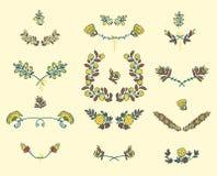 Set mit Blumenelemente der grafischen Auslegung Stockfoto