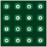 Set of 16 Mix White Icons on Rounded Green Rectangle on Dark Gre. En Background. Cartoon Style. For web design and application interface, also useful for Royalty Free Illustration