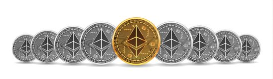 Set of gold and silver bitcoins. Set of mixed gold and silver crypto currency coins with ethereu symbol on obverse isolated on white background. Vector Royalty Free Stock Images