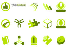 Set of mixed green icons. A collection or set of varied green icons including a road, thumbs up, puzzle pieces, book, cube, leaf, and abstract designs Stock Images